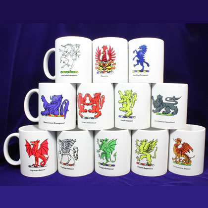 Heraldic Creatures Coffee Mugs (set of 12)