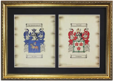 Double Coat of Arms Framed - Gold
