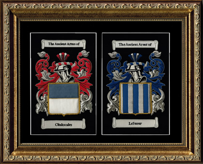 Double Embroidered Coat of Arms Framed - Gold